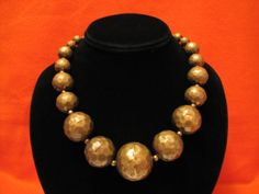 HUGE Vintage Hammered Brass Ball Beaded Necklace by ditbge on Etsy, $62.00