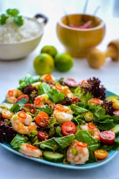 Recipe: Thai Prawn Salad - The Hungry Australian Thai Prawn Salad, Seafood Salad, Seafood Dishes, Seafood Recipes, Cooking Recipes, Thai Shrimp, Cooked Prawn Recipes, Shrimp Salad, Manger Healthy