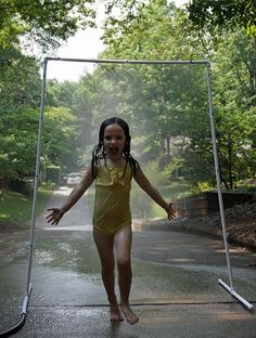 Make a PVC sprinkler. Looks so fun!!  Summer bucket list idea - from Creative Memories