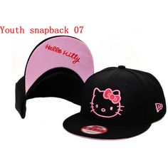 Youth Snapback Hat Hello Kitty Black Pink found on Polyvore e89b44a0202