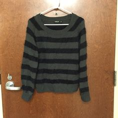 WAS $28 - 1 HR SALE | Allen B. Fuzzy Sweater Cute gray and black striped sweater from Allen B. by Allen Schwartz (tagged as ABS Allen Schwartz because there is no option for the other). Slightly cropped fit if you are tall. The black stripes are fuzzy and mohair like, which makes for a cool mixed media type sweater with the crochet and the fuzzy textures. Such a unique and soft sweater :)   I have a 30% bundle discount and I accept all reasonable offers so don't be shy!! ABS Allen Schwartz…