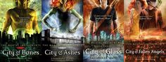 The Mortal Instruments by Cassandra Clare -  A story about a girl who discovers she has a supernatural bloodline after her mom is abducted by demons.