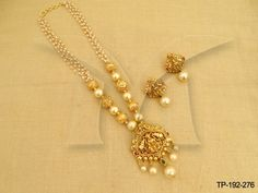 Gold Jewelry For Brides Code: 8873026975 Pearl Necklace Designs, Jewelry Design Earrings, Gold Earrings Designs, Beaded Jewelry Designs, Gold Necklace, Gold Bangles Design, Gold Jewellery Design, Gold Jewelry Simple, Temple