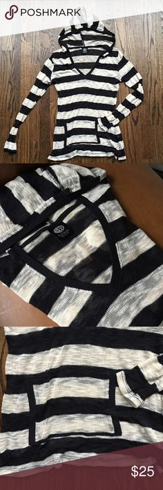 Bobeau Hoodie crochet knit sweater Lightweight fine knit hoodie sweater from bobeau. Black and cream stripes, front kangaroo pocket, like new. Rayon/poly/spandex blend, made in the USA. bobeau Sweaters