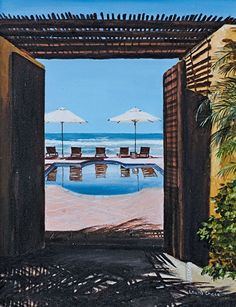 """Beach Club - Punta Mita, MX by laurie chase Oil ~ 20"""" x 16""""Medium: Oil on Canvas Size: 20"""" x 16""""  Price: $395.00 USD"""