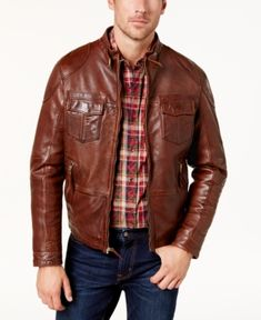 Bs by Blake Shelton Men's Leather Bomber Jacket, Created for Macy's - Brown XXL