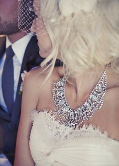 Glitzy and glam statement necklace #wedding #bling