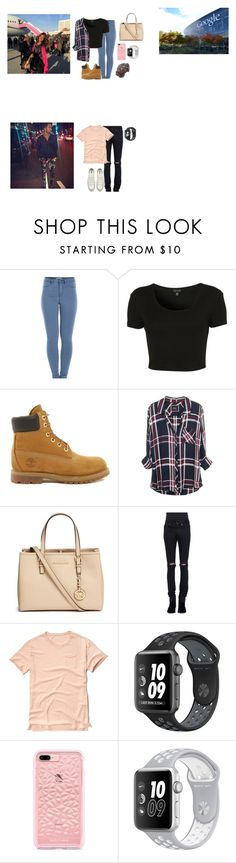 """""""friday// School, Work, football games, playdates"""" by thecollinfamily ❤ liked on Polyvore featuring Pieces, Topshop, Timberland, Michael Kors, Yves Saint Laurent, Hollister Co., NIKE and Converse"""