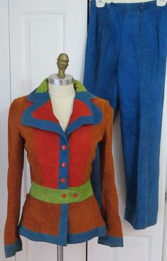 Vintage I. Magnin Color Block Soft Leather Pantsuit 60's Mod Retro Funky #IMagnin