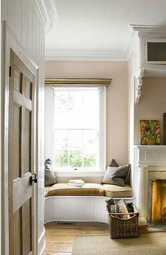 corner window seat, nook, cozy, tucked away, banquette, bay window, corner seat, daybed, decor, decorate, design, fashion, furniture, home, interior design, interiors, photography, window seat