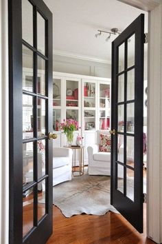 Interior Doors For Sale Solid Core Interior Door Styles . Looking For French Glass Door Ideas This Black Modern . Mirrored French Doors Storybook House Plan In 2019 . Home and Family Black French Doors, French Doors With Screens, Sliding French Doors, French Doors Patio, Sliding Patio Doors, Black Doors, Double Doors, The Doors, Types Of Doors