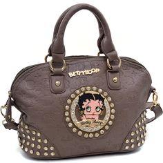 Betty Boop® Bag w/ Etched Monogram / Rhinestones - Taupe SWCT-B15U-392 TP