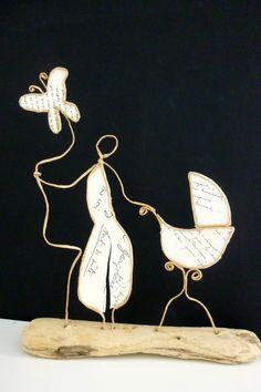 Une maman heureuse - figurines en ficelle et papier : Accessoires de maison par ficelleetpapier