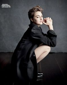 Shailene Woodley-short hair. It is so nice to see a strong woman in the movies who is young, beautiful and she is not sticking her ass in the air and an open mouth in her photos. Yuck!! Bring on the strong heroines.