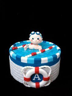 Zwemdiploma taart / Swimmer cake Pool Birthday Cakes, 9th Birthday Cake, Pool Party Cakes, Pool Cake, Swimmer Cake, Fab Cakes, Sport Cakes, Cake Shapes, Cake Business