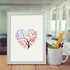 Watercolor Heart Print Heart Tree Art Paint Home Decor Gift Art Watercolor Art Paintings, Heart Tree, Watercolor Heart, Heart Print, Tree Art, Ink, Gifts, Home Decor, Dancing