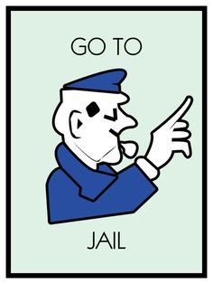 Monopoly Poster Go to Jail Themed 18 x 24  by SweetestSaranade