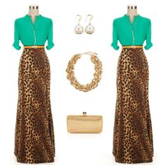 Leopard Mermaid Maxi Skirt paired with Emerald Green Top and accessories