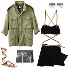 NLST oversized M65 jacket, $345; stevenalan.com; Oliver Peoples x Isabel Marant Matt 60mm aviator sunglasses, $365; shop.nordstrom.com; Michael Kors Collection strappy wrap skirt bikini, $396; for information: shopbop.com; Zubi large canvas palm tree sotogrande pouch, $185; for information: scoopnyc.com; Scoop NYC, 212.925.3539; Free People Oliviera gladiator sandal, $68; shop.nordstrom.com