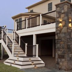 Composite deck and staircase with stone pillar - traditional - porch - baltimore - Clearwater Landscape & Nursery Railing Design, Deck Design, Landscape Design, Driveway Design, Driveway Ideas, Steps Design, Vinyl Deck, Traditional Porch, Traditional Exterior