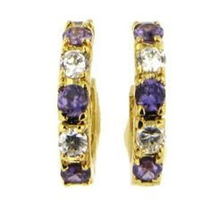24k Gold Bonded Round Simulated Amethyst Hoop Earrings Romeo & Juliet Couture. $21.00. Hypo-Allergenic for worry-free wear. Pierced hinged post. Classic and fashionable hoops. Gift Boxed. Shimmering 24k gold bonded. Save 58% Off!