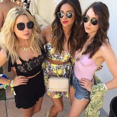 Ashley Benson, Shay Mitchell and Troian Bellisario Popsugar, Coachella, Hanna Marin, Troian Bellisario, Shay Mitchell, Ashley Benson, Preety Little Liars, Pretty Little Liars Outfits, Star Wars