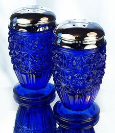 Colbalt Blue Glass Salt & Pepper Shakers ~ (Fenton Art Glass - Daisy & Button)