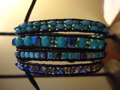 ANCHOR WRAP - Handmade Leather Cord Wrap Bracelet - 4 Wraps featuring Turquoise, Crystal, Glass and Hematite - SOLD