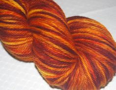 Worsted Weight Tweed Merino Wool Sock Yarn, Hand Dyed Self Patterning Variegate Gold Ochre, Burnt Orange and Burgundy