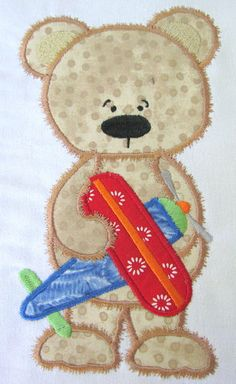 NEW AT KC DEZIGNS EMBROIDERY Boy Toy Bear 06 Machine Applique Embroidery Design…