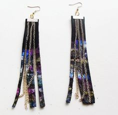 Space Cadet  Galaxy Leather Fringe Earrings by BeatniqJewelry, $25.00