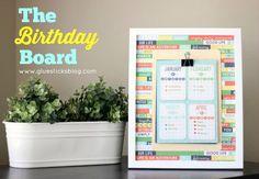 The Birthday Board: Framed list of family member's birthdays!