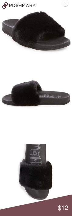 Fur Slides - Excellent Condition Mad Love fur slides.  Soft black faux fur.  Comfortable footbed with traction. My feet are narrow, and these we just a little too wide. Wish I could keep them, since they look way more expensive than they were.  Current $22.99 Mad Love Shoes Sandals