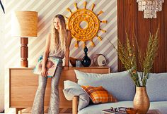INSPIRATION: Living room New-look '70s interior style as seen in Real Living Magazine 2014 - earthy tones, zig zag wallpaper, loving the chandelier!!