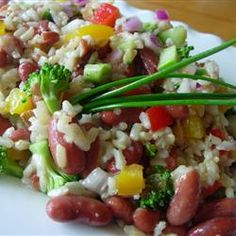 """This delicious cold rice salad has the great flavors of brown rice, fresh veggies, and chopped raw almonds. This has replaced high fat, low nutrition picnic salads in this household. Brown Rice Salad, Korean Side Dishes, Healthy Dinner Recipes, Healthy Meals, Healthy Food, Diabetic Recipes, Vegetarian Recipes, The Fresh, Tasty Dishes"