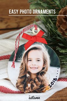 Make easy keepsake photo ornaments for Christmas - It's Always Autumn These pretty photo ornaments make a wonderful keepsake! Make a picture Christmas ornament for each year of your child's life. Easy and inexpensive. Picture Christmas Ornaments, Diy Photo Ornaments, How To Make Ornaments, Christmas Photos, Christmas Tree Ornaments, Christmas Presents, Preschool Christmas, Christmas Crafts For Kids, Christmas Diy