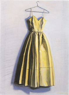 Yellow Dress Painting By Wayne Thiebaud - Reproduction Gallery Wayne Thiebaud Paintings, Nouveau Realisme, Afrique Art, Dress Painting, Yellow Painting, Pop Art Movement, Illustration Mode, Food Illustrations, Edward Hopper