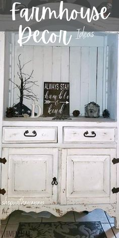 Tons of farmhouse decor ideas for you to choose from! The ultimate farmhouse decor list! #farmhouse #farm #farmhousedecor #decor #home #homedecor #decorate #house #housedecor #DIY #handmade #homey #decoratingideas #distressedfurniture #furniture #walldecor #tables #farmtables Small Curio Cabinet, Diy Dog Bed, Office Workspace, Cabinet Styles, Distressed Furniture, Refurbished Furniture, Luxurious Bedrooms, Simple Living, Decorating Your Home