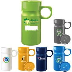 Recycled Velocity Travel Mug- BPA Free These custom printed travel mugs are made from 100 % recycled plastic