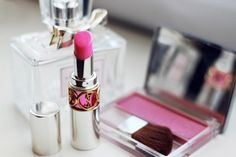 Pretty pink blush and lipstick!
