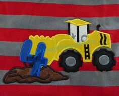 Instant Download - Scraper Truck with number 4 Digitized Embroidery Applique Designs - 4x4, 5x7, and 6x10 hoops