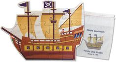 """Introducing our newest puzzle, the shaped jigsaw puzzle. Our Pirate Ship puzzle has 12 large interlocking pieces cut from 1/8"""" hardwood plywood. Each puzzle measures about 10"""" high and 13"""" long."""