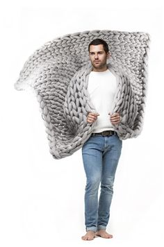 Calm and classy colors of Ohhio blankets perfectly suit for men. #manfashion #style #knitting