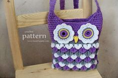 Crochet Pattern Crochet Owl Purse With Feathers by ZoomYummy