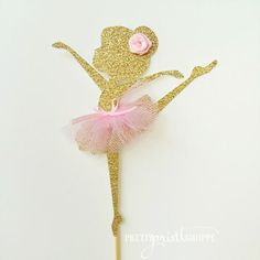 ballerina cake topper gold ballerina decoration tutu party