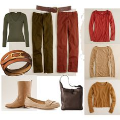 soft autumn casual week by teamonkey on Polyvore featuring J.Crew, Cruciani, b.o.c. Børn Concept, Hermès, Warehouse, loafers, leather belt, caramel, chinos and tan