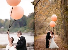 Peach+Wedding+Balloons+with+Black+Lace+Ribbon