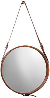 Leather Strap 16-Inch-W Jamie Young Round Wall Mirror - #EUU3447 - Euro Style Lighting