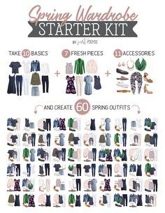 Spring Wardrobe Starter Kit: Capsule Wardrobe for Spring: Create 60 Outfits! Spring Starter Kit – Capsule Wardrobe – Just Posted Paris Outfits, Street Style Outfits, Capsule Outfits, Fashion Capsule, Mode Outfits, Spring Outfits, Fashion Outfits, French Capsule Wardrobe, Plus Size Capsule Wardrobe