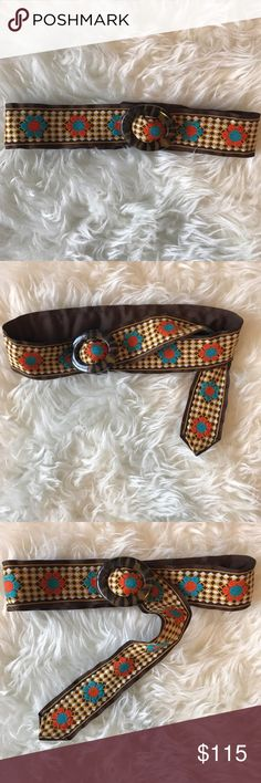 """Vintage flower belt Vintage cloth belt with flower pattern and tortoise buckle. Adjustable, 42 1/2"""" long, about 2 1/4"""" wide, buckle is 2 3/4"""" wide, 1 1/4"""" tall. Excellent condition, no stains or damage. Vintage Accessories Belts"""